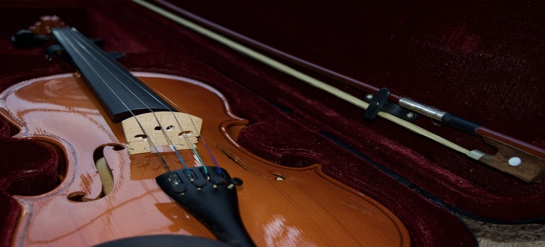 Prepare musical instruments for storage - vipolin in a case
