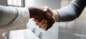 The first step prepare for a job interview - shaking hand