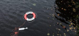 A lifebuoy floating on the water