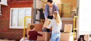 family packing and preparing for a move to Manhattan NY