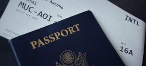 A passport and a plane ticket