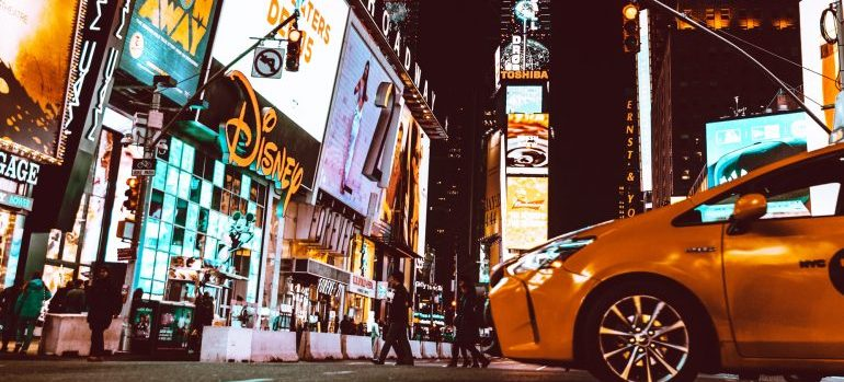 Yellow taxi in the middle of Times Square