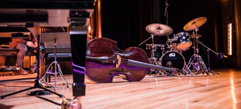 music instruments on a stage