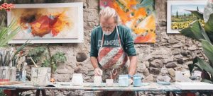 A man creating art