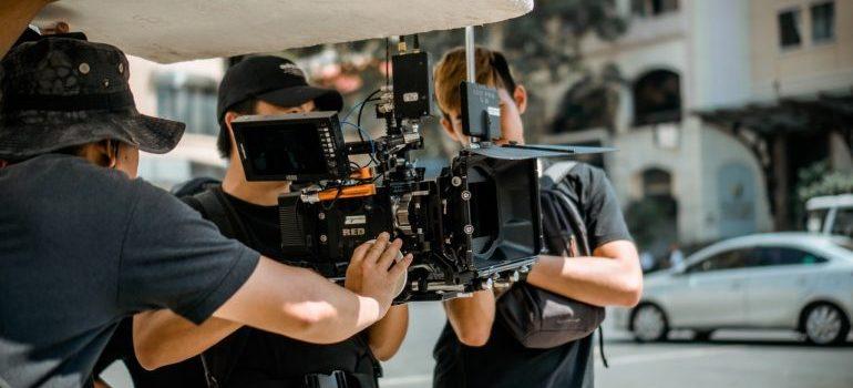 A film crew filming