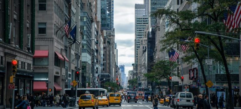 a busy street of New York