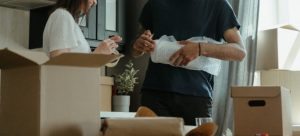 People packing items