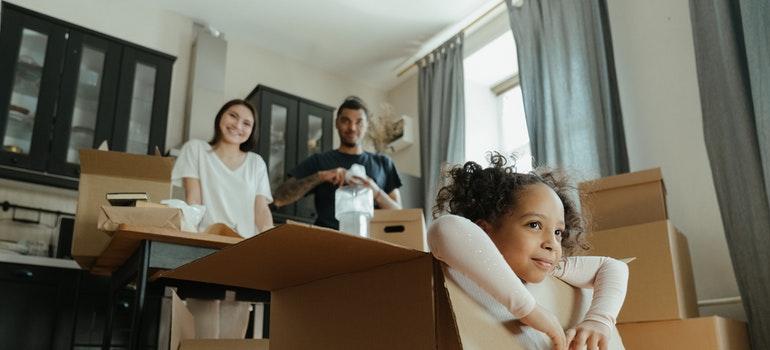 A family preparing to move