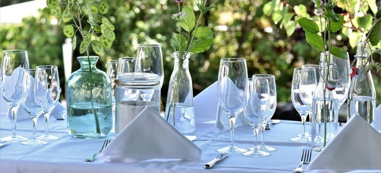 glasses on the table - housewarming party ideas for spring