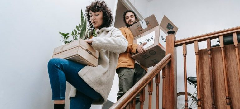 Couple in Preparations for a summer move.