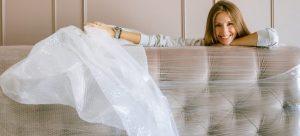 A woman using bubble wrap.