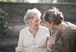 2 women talking.