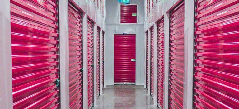 Storage unit with pink doors