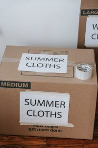 Summer clothes labeled box