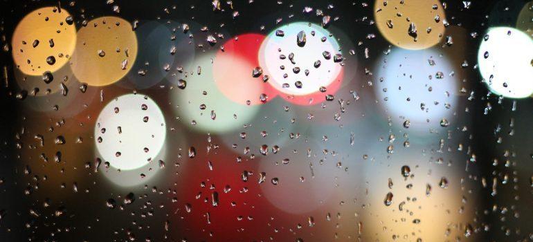 Rain through a window.
