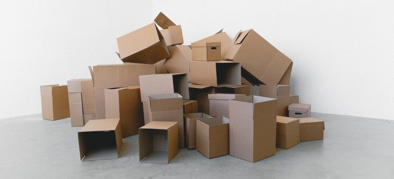 a stack of cardboard boxes in large quantities