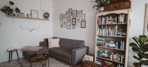 A tiny apartment with simple, but multifunctional elements, and even some art and decorative elements, possible to achieve when downsizing to a smaller apartment in NYC.